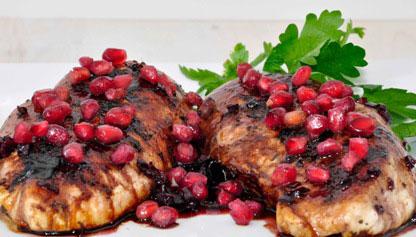 خوراک مرغ با سس انار