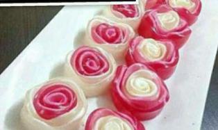 ژل گل رزی دو رنگ