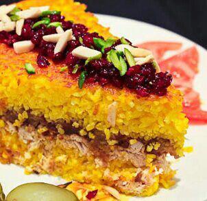 ته چین مرغ و بادمجان شیرازی